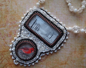 Bead Embroidery Winter Cardinel Crystal Boho Gypsy Wearable Art Necklace