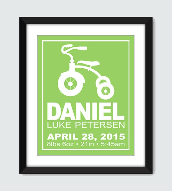 Tricycle Birth Announcement Wall Art, Baby Shower Gift, Baby Announcement 8x10, 5x7 Baby Nursery Children Retro Trike Bike Wall Print Poster