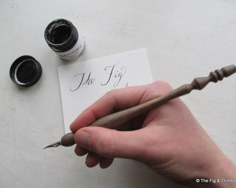 Calligraphy Nib Holder Hand Turned Walnut Straight Dip Pen