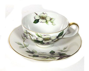 Meito Norleans Occupied Japan Dogwood Cup and Saucer Livonia Multiples
