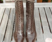"""Antique Edwardian Victorian High Top Brown Leather Lace Boots 9 3/4"""" Tall"""
