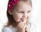 SALE Pink girl headband - Flower girl headband - Bright pink headband - prom headband - baby girl headband - spring headband - girls hair pi