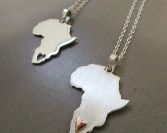 Big africa necklace with heart in copper africa jewelry South africa necklace Africa pendant