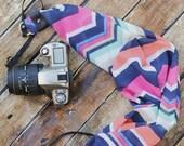 Scarf Camera Strap - Bright Chevron - dSLR Camera Strap