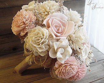 Ready to Ship ~~~ Petal Pink Sola Flower Bridal Bouquet, Sola Flowers, Burlap, Lace and Babies Breath. Large 10""
