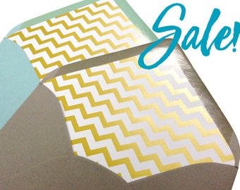 """SALE! Gold Chevron Paper - 18""""x24"""" sheets for Envelope Liners or Wrapping Paper"""