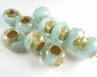 10 Aqua Mint with 22k Gold Czech Large Hole 9mm x 6mm Roller Jewelry Beads