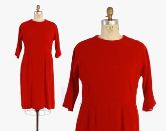 Vintage 60s Wool DRESS / 1960s Plus Size Cherry Red Wool Day Dress XL