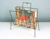 Mid Century Magazine Rack, Magazine Holder, Magazine Stand, Newspaper Rack, Newspaper Holder, Vintage Storage and Organization, Atomic Era
