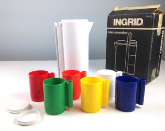 Vintage Ingrid Drink Connection Cups and Pitcher, Patio Ware, Outdoor Cups, Poolside Entertaining, Housewarming Gift, 1970s Bar B Que