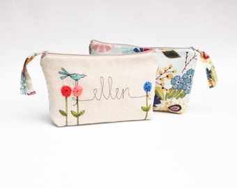 Personalized Makeup Bag, Women's Gift, Custom Made Cosmetic Bag, Unique Wedding Party Gift, MADE TO ORDER MamaBleuDesigns