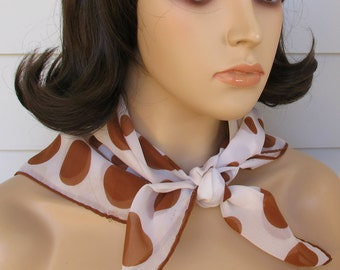 1960s Scarf In A Brown Polka Dot Design