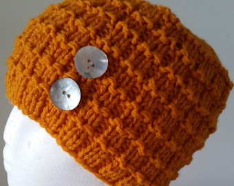 Ladies knitted hat - golden