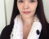White Crochet Chain Infinity Scarf Many Colors Available- Womens scarf- Winter scarf- Warm scarf