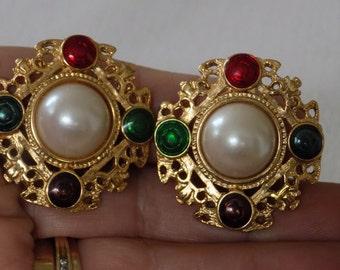 Vintage earrings,retro earrings, multi-color enamel and pearl earrings,clip-on earrings