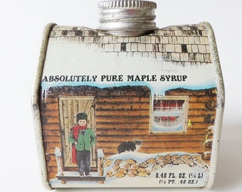 Pure Maple Syrup Log Cabin Tin Container 1/2 Pint Vintage 1984
