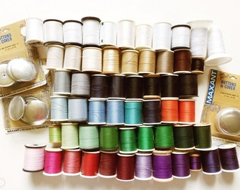 """57 Spools Sewing Thread, Vintage Lot Mixed Colors, Sizes, Brands + 6 Maxant Buttons to Cover 1 7/8"""""""