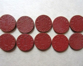 10 Red Celluloid OPA Rationing Tokens, Vintage WW II
