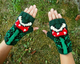 Super Mario Bros. Inspired Piranha Plant Fingerless Gloves Nintendo NES Texting Gloves - Wrist Warmers Knit Comic Con Accessory