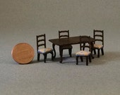 Quarter Inch Scale Furniture - Dining Table & Chairs