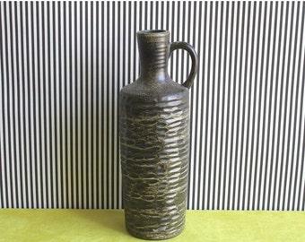 Summersale Vintage East German Pottery Brown Handled Vase by VEB Haldensleben