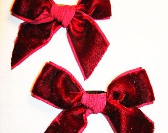 Burgundy Velvet Ribbon Bow Barrettes