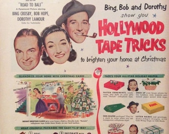 20% OFF SALE Vintage 1952 Scotch Tape Bing Crosby Ad with Bob Hope Dorothy Lamour Road to Bali Americana Advertising