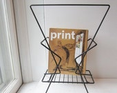 ON SALE Vintage Mid Century Modern Magazine Rack - Black Metal Atomic Magazine Holder