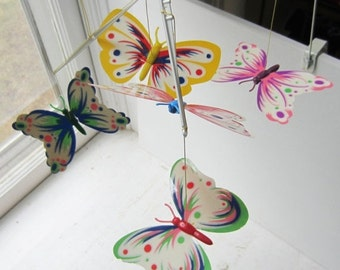 ON SALE Vintage Kenner's Butterflies Mobile - Nursery Decor - Butterfly Mobile - Glow in the Dark - 1968