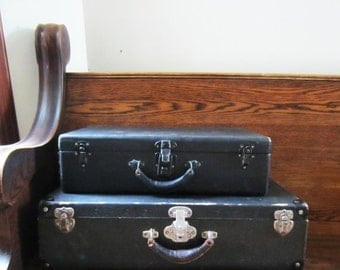 ON SALE Two Vintage Antique Black Suitcases - Wood with Leather Handles - Paper Lined - Home Decor / Storage - 1940's