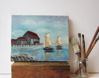 ON SALE Vintage Oil Painting - Sailboat Seascape