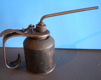 Vintage Mid Century Industrial Automotive Metal Oil Can