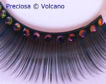 Cavete Vesuvius! - False Eyelashes with Genuine Magenta Orange Preciosa Crystal Diamante Rhinestones