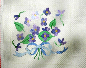 Violets Needlepoint Coaster Design, 4 Coaster/Sachets