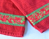 Red Christmas Kitchen Towel Set, Lovely Hand Decorated Towels, Set of Two Holiday Cotton Kitchen Towels, Hand Towel