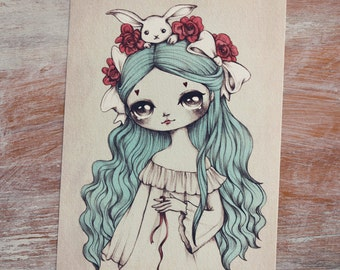 Alice - Open edition art postcard - made to order