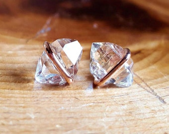 Herkimer Diamond Stud Earrings Raw Crystal Stud Earrings 14K Pink Gold Studs April Birthstone Jewelry Rose Gold Womens Girlfriend Gift Wife