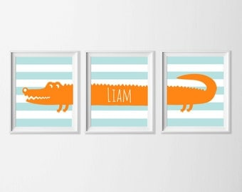 Personalized Alligator Nursery Art, Safari Alligator Nursery Wall Art, Alligator Set of 3, Safari Kids Decor Alligator, Zoo Nursery Art