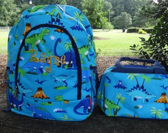 Personalized Boys  Backpack SET - DINOSAURS Backpack and Lunch Box