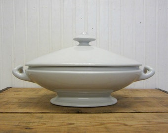 "Vintage Imperial Ironstone China Richard Alcock White Ironstone 12"" Covered Lidded Tureen Serving Bowl Dish"