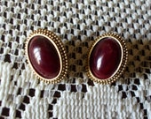 Oval Earrings Gold Tone With Red Brown Cabachons Vintage Pierced Costume Jewelry Victorian Retro