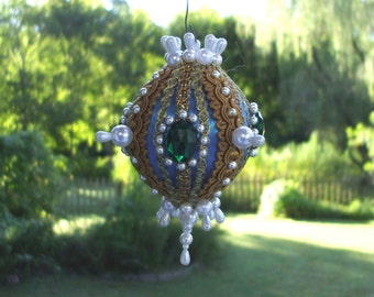 Handmade Blue Christmas Ornament Pearls Green Gems Jewels Faceted Gold Trim Satin Vintage Ball OOAK Victorian