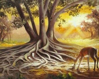 Deer Banyan Tree 11x17 print signed by artist RUSTY RUST / D-165-P