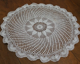 Round Handmade Crochet Doily Table Topper White Cotton Large 22 Inch Diameter