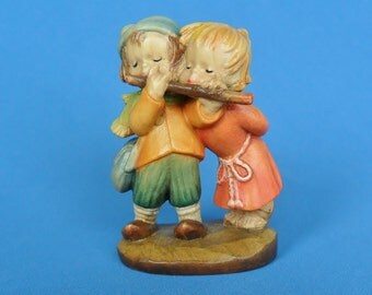 Anri Ferrandiz Duet Carved Wood Figurine Boy and Girl Playing Flute 1982 Flutist Flotist Collectible Musical Couple Wooden Carving