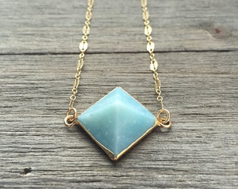Amazonite Pyramid Necklace | 14k Gold Fill