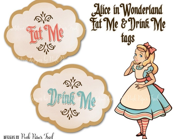Alice In Wonderland Eat Me Drink Me Tags - Instant Download - Print Your Own