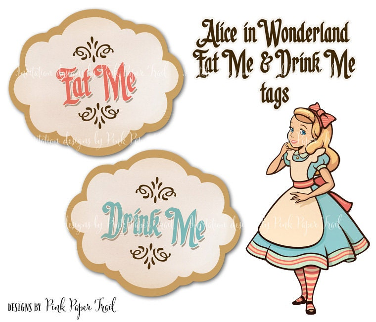 Alice In Wonderland Eat Me Drink Me Tags Instant Download