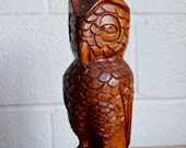 """JULY SALE Vintage Wood Owl Hand Carved Wooden Owl Looks Like Mahogany Boho Chic Home Decor Rustic Wood Decor Cabin Large 12"""" Tall"""