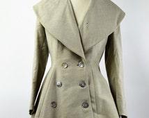 1940s Jacket Study Piece Large Cape Collar and Peplum Beautiful Shell Buttons Fashion Design Pattern Making